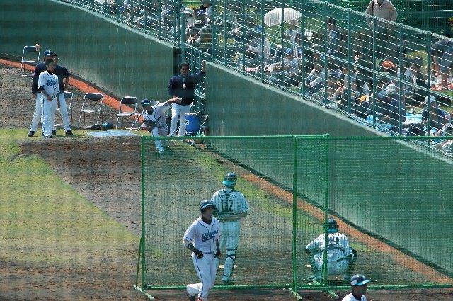 神宮球場と同じ方式ですね。内野芝生席に陣取ると、ブルペンの様子がわかるのがメリットですかね。