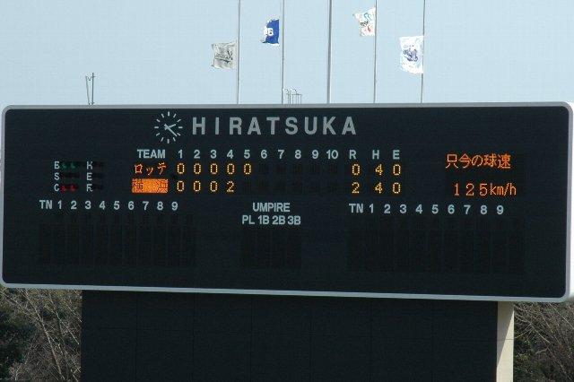 東京電力の人災の影響で、選手名、審判名がスコアボード上から消えました。