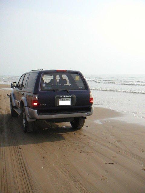 波打ち際のすぐそばまで車で近寄ることができる。