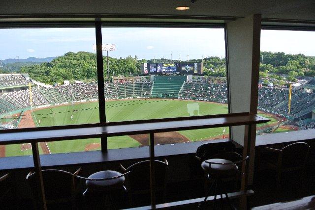 こんな感じで球場を見下ろす感じで観戦できる