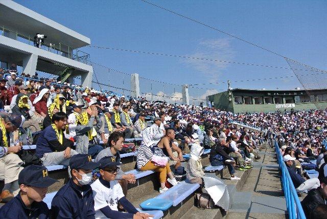 週末の試合開催とあって、内野スタンド中央は満席に近い状態