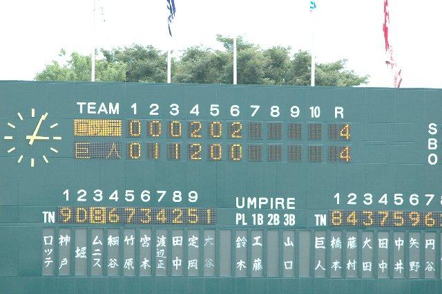 得点表示と守備位置表示が電光表示、選手名表記は手書き...と昭和の香り漂う一昔前のスコアボードって感じでした。