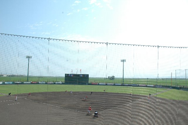 外野席の向こうに広がる広い水田風景と、外野の芝の緑がシンクロして、緑に囲まれた球場であることを強く印象づけられる。