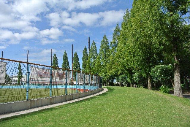 この日は晴天、青空に映える緑の木立が美しい