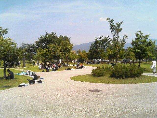 公園内の通路に沿って、場所取りのシートや荷物が延びている。