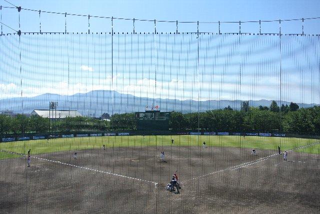 高田城址の蓮池を超え、外野の奥に見える山々に向かって打ち込む感じが素敵な球場です。
