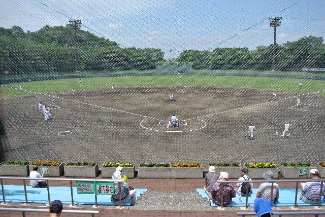 夏の試合で撮影したので、球場全体が青々としています。