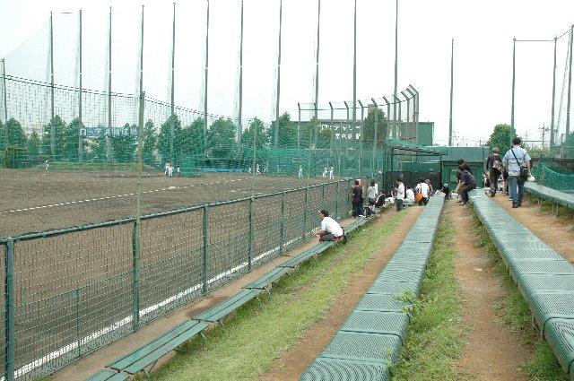 ホーム側(一塁側)の観戦スペースから見る球場全景。
