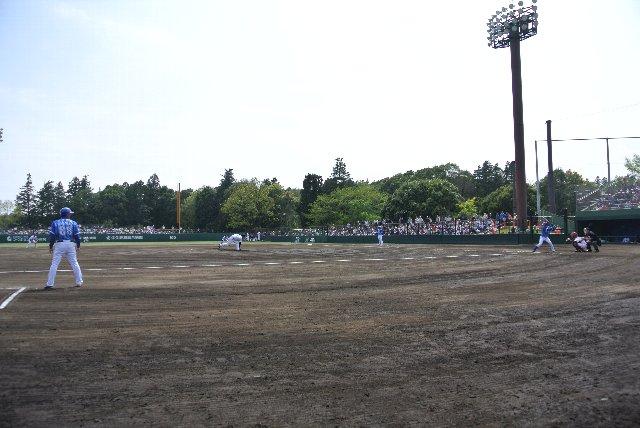 仮設の内野席は傾斜も奥行きもなく、野球観戦には不向き。