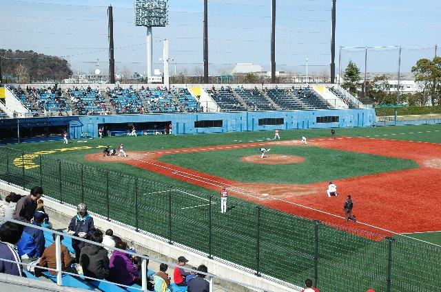 湘南シーレックスの応援団は、ここ一塁側スタンド中央上段に陣取ります。