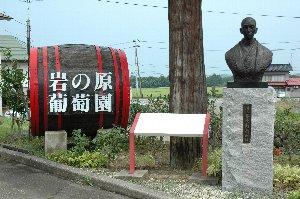 右に建つのが川上善兵衛翁の銅像です。