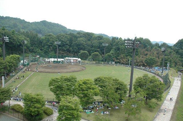 球場は川沿いに立地しているため、川を橋で越える県道から見下ろすことができる。