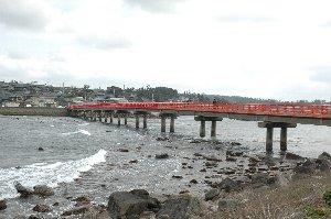 橋の下には日本海沿いに吹きつける強い風が作り出す、美しい波の模様が作られていました。