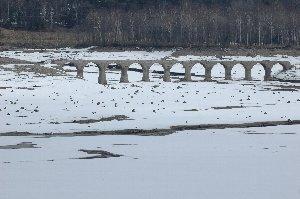 昨日、今日と雪が降ったため、糠平湖が雪原化したのが良いアクセントになった。