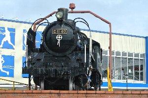 SLを前から見た画像、銘板にはC11 40とあります。