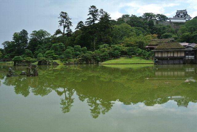 池が鏡となって彦根城天守閣が映り混んでいるのが良い感じ。