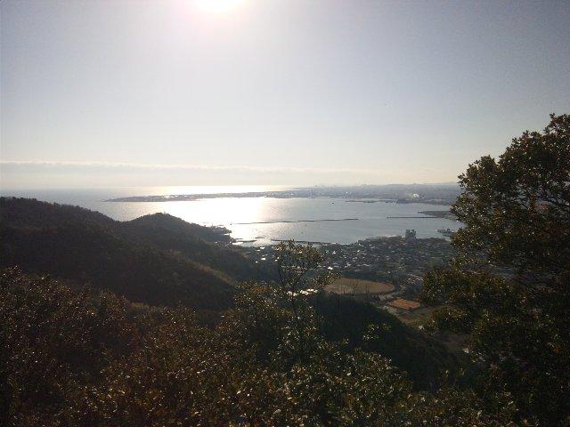 朝日を受けて輝く小松島港の海面が美しかった。