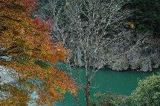 瀞峡の深い緑と紅葉の紅色との対比が見事です。