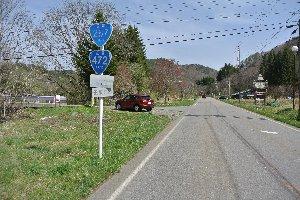 直進するのが県道、左折して心細い山道に入るのが国道。
