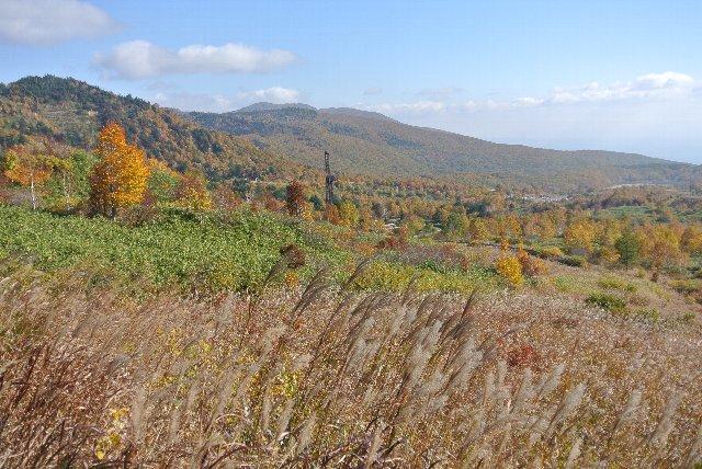 八幡平温泉を過ぎた辺りで撮影。うちが訪ねた時期、中腹付近の紅葉はまだまだだった。